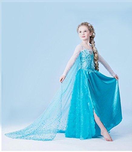 Imagen de jzk® cosplay elsa vestido del traje, longitud 81 cm, para 6 años 120 cm muchacha de los niños de la altura, princesa traje de disfraz traje de fiesta accesorios de halloween