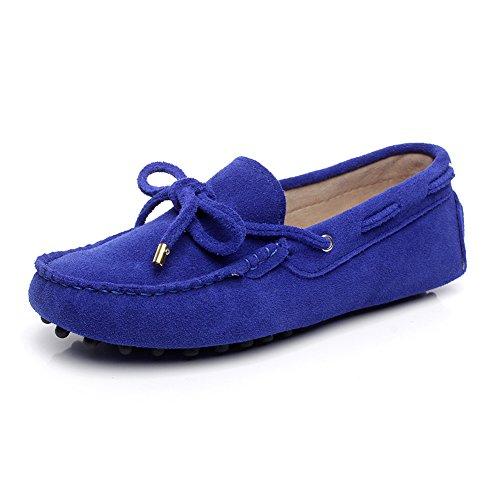 Jamron Damen Komfort Wildleder Mokassin Pantoffeln Bootsschuhe Mit Krawatte Königsblau 24208-2 EU42