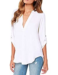 Jardin Rêvé Femmes Chemiser Col V Tops Manches Longues Slim Blouse Uni Casual Shirts