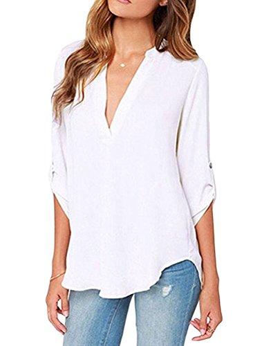 LAEMILIA Damen T-Shirt Blouse Kurzarm Beiläufig Weiß V-Ausschnitt Sommer Herbst Einfabig Hemd Bluse Shirt
