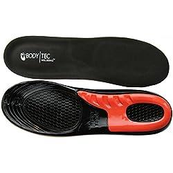 Plantillas de gel para masaje Bodytec para rendimiento deportivo, correr o senderismo. Plantillas negras con una fantástica amortiguación de impactos., blue and cream