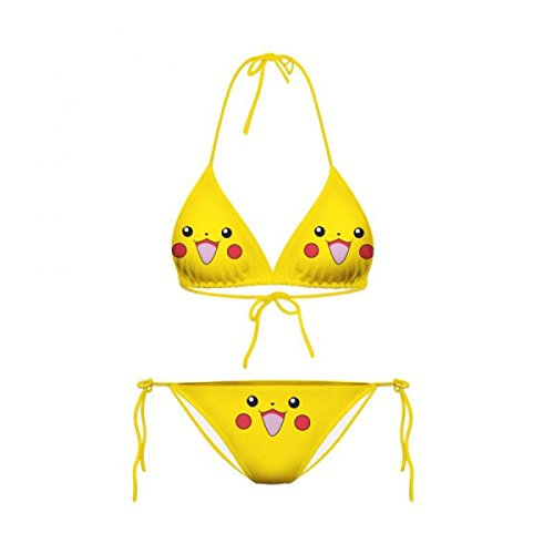 SHRJJ Sommer Sprengkörper Haustier 2 Stück Assistent Pikachu Expression Lovely Strand Split Bikini (Sexy Assistenten)