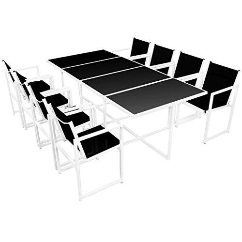 Luckyfu Dieses Set für den Außenbereich 9 teilig 220 x 100 x 72 cm aus Aluminium Das Set ist robust und widerstandsfähig.Buna ideal für Garten, Gartenmöbel, Gartentisch und