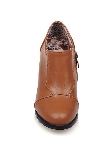 WSS 2016 Chaussures Femme-Habillé-Noir / Jaune / Beige-Gros Talon-Talons / Bout Arrondi-Talons-Similicuir yellow-us5.5 / eu36 / uk3.5 / cn35