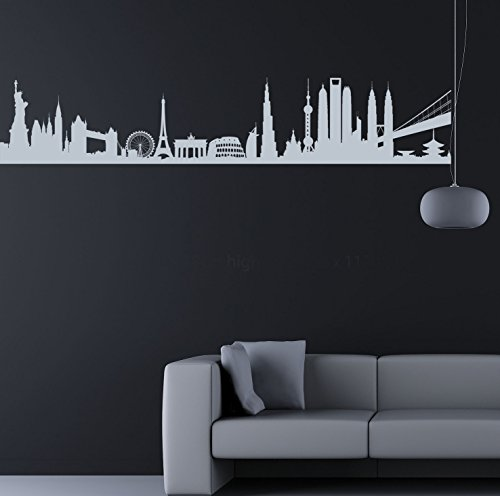 City monumenti del World. qualità in vinile opaco Decal. da 6 colori.,  - Silver (Opaco Trasferimento)