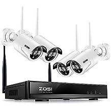 ZOSI Wireless Système de Surveillance Professionnel- 4CH 960p HD Network NVR Vidéo Surveillance - 4x Caméras ip en WiFi de 1.3MP - Détection de Mouvement & Alerte par Email - Scan Code QR pour Voir la Caméra à distance