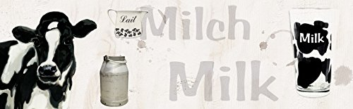 Milch Spülen (Artland Küchenrückwand Küchenspiegel Sicherheits-Glas mit Motiv Jule Milch - Kuh Tiere Haustiere Kuh Mixed Media Schwarz/Weiß A6EV)