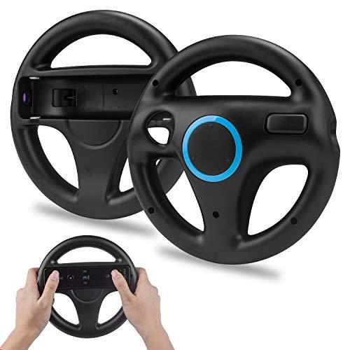 2 x Wii Wheel Controller Wii Mario Kart Lenkrad,TechKen Wii Spiel Racing Lenkrad Wheel Wii Mariokart Controller Kunststoff Game Lenkrad für Wii U Racing Spiele (Schwarz)