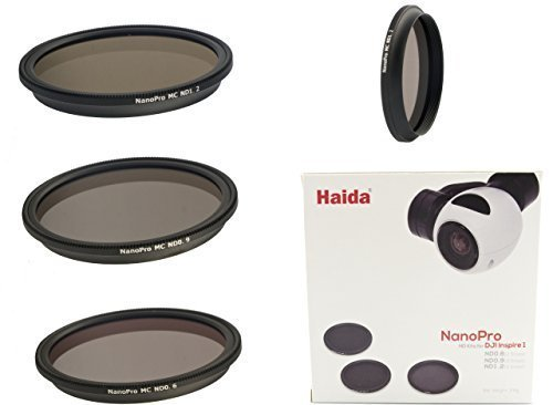 Neutral Graufilterset Nano Pro MC Optical von HAIDA für Quadrocopter DJI Inspire 1 / Osmo X3 / Zenmuse X3 - Bestehend aus 3 Filtern ND 0.6 / ND 0.9 und ND 1.2