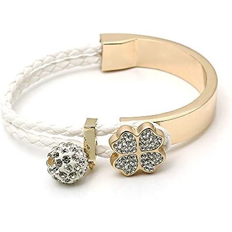 O.R.® (Old Rubin)Señoras mujeres de la alta calidad de la nueva manera hechos a mano Trébol de Cuatro Hojas tejida pulsera de la pulsera de 18 quilates chapado en oro encanto pulsera clásico - Es bueno para el regalo de cumpleaños, regalos de Navidad, regalo de San Valentín (17 cm)