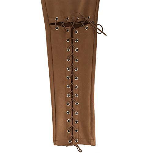 Donna Skinny Stirata Pantaloni Slim Fit Jeans Elegante in pelle strappati Jeans, Juleya Marrone