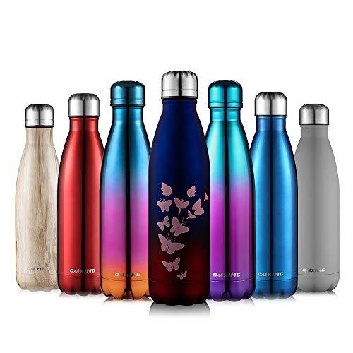 cmxing Doppelwandige Thermosflasche 500 mL / 750 mL mit Tasche BPA-Frei Edelstahl Trinkflasche Vakuum Isolierflasche (blau+rot, 500 mL)