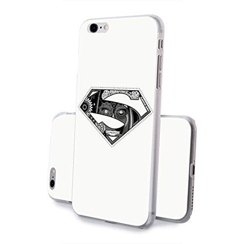 finoo | iPhone 8 Plus Handy-Tasche Schutzhülle | ultra leichte transparente Handyhülle in harter Ausführung | kratzfeste stylische Hard Schale mit Motiv Cover Case |Superman dad black Superman logo dead face