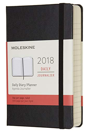Moleskine Tageskalender, Taschenkalender, 12 Monate, 2018, Pocket, A6, Hard Cover, Schwarz