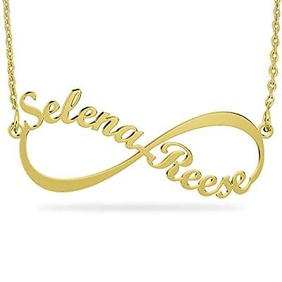 JOELLE JEWELRY Collier Prénom Infini Personnalisé avec Pendentif en Or plaqué 18K Argent 925 pour Couple Amoureux Femme Cadeau Fille Anniversaire