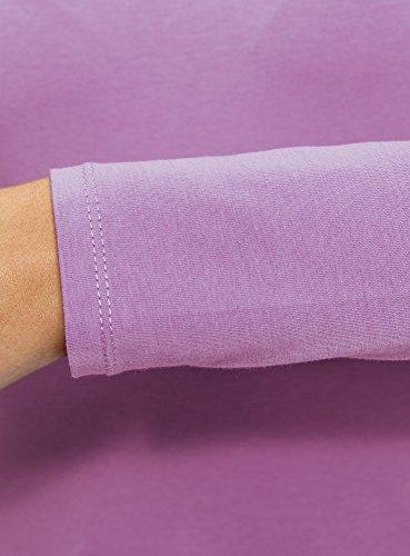 oodji Ultra Damen Tagless Langarmshirt Aus Baumwolle Violett (8000N)