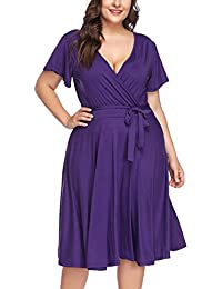 FeelinGirl Womens Plus Size Dress Deep V Short Sleeves Hight Waist Party Maxi Dress