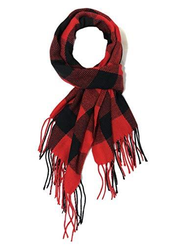 Mocasor - Manta de cuadros para mujer, diseño de tartán Rojo 31 Negro Rojo Talla única