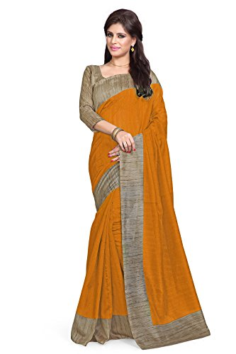Sourbh Raw Silk Saree (824_Mustard,Beige)