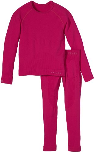 FALKE Kinder Ski Unterwäsche Set Shirt Long Sleeve and Tights Long, berry, 146-152, 31909
