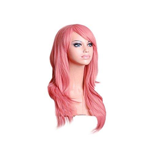 ke Kostüm Party Synthetisches Haar Voll Perücke Curly Wellig In Silber Grau Rosa Blond Lila Rot (Rosa Kostüm Perücke)