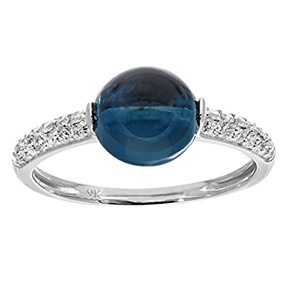 Naava 9 ct White Gold Diamond and 3.15ct Round Blue Topaz Ring