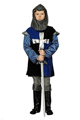 Karneval-Klamotten Ritter-Kostüm Kinder Jungen Kinderkostüm Kreuz-Ritter blau-schwarz Mittelalter-Kostüm -