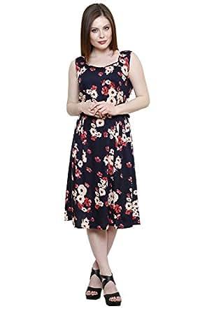 VASTRASUTRA Women's Rayon Dress (VS91915_XXL_Multi-Coloured_XX-Large)