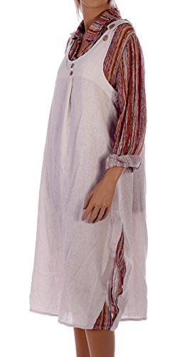 Leinenkleid Maxi 2 Teile Trägerkleid mit Extrabluse Langarm Beige