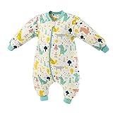 Baby Schlafsack mit Beinen Warm Gefüttert Winter Langarm Winterschlafsack mit Fuß 2.5 Tog (grünerWald, L/Körpergröße 95cm-105cm)