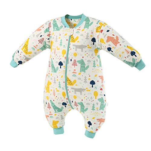 Baby Schlafsack mit Beinen Warm Gefüttert Winter Langarm Winterschlafsack mit Fuß 2.5 Tog (grünerWald,L/Höhe 107cm-117cm)