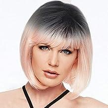 yem ocile Mujer Corto rizos Stilvoll Schick lisa Artificial pelo peluca