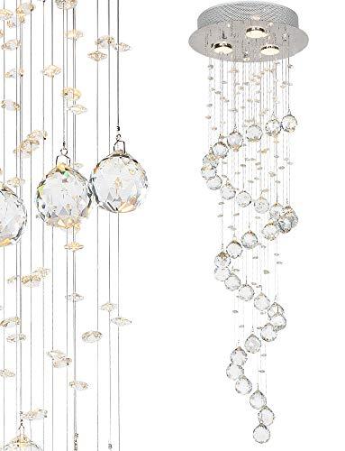 Glas Kristall Decken - Hängeleuchte Deckenleuchte Deckenlampe mit K9 Glaskristallen Lüster Ø30 x 100cm (H) 3x GU10 -