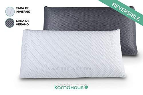 Dreaming Kamahaus Almohada viscoelástica Carbono Activo 150cm |  Núcleo indeformable |  Hilo de plata |  Microperforada |  Antiestrés |  Funda con 2 Caras Invierno / Verano |