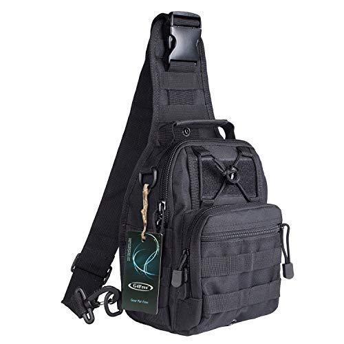 S-ZONE Leichte Tactical Sling Rucksack Militär Schultertasche Umhängetasche EDC Brusttasche für Outdoor Sport Camping Wandern -