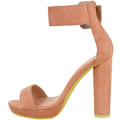 Damen Party-Sandaletten mit Knöchelriemen - hoher Blockabsatz & Plateau Pastellrosa Veloursleder-Imitat