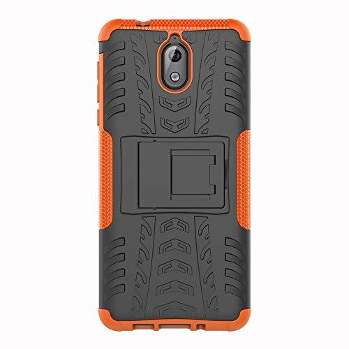 SHIEID Nokia 3.1-Hülle Tough Hybrid Armor Case,Diese Handyhülle Anti-Wrestling Travel Essential Faltbare Halterung für Nokia 3.1(Orange)