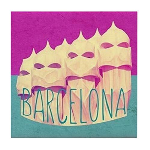 CafePress Barcelona Gaudi Paradise Fliesenuntersetzer, Untersetzer für Getränke, klein -