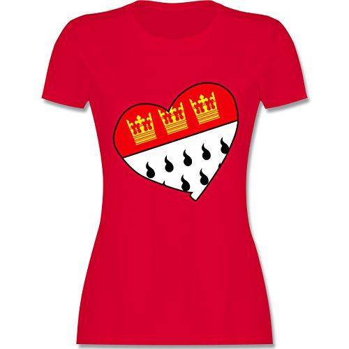 Karneval & Fasching - Köln Wappen Herz - L - Rot - L191 - Damen Tshirt und Frauen T-Shirt