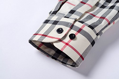 YR.Lover Shirt Mens-Beiläufige Langärmlig Plaid Slim Fit Dress Shirt Color14
