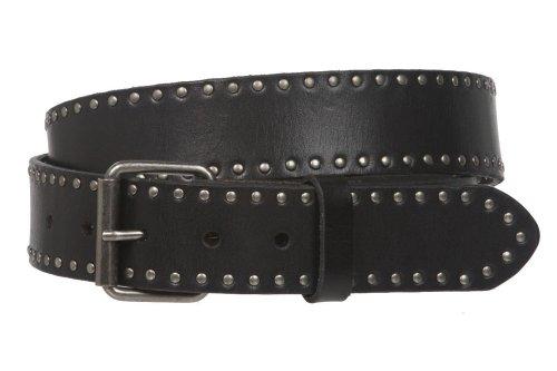 beltiscool Cinturón de piel con tachuelas de círculo retro vintage - hebilla intercambiable - Negro - 97 cm