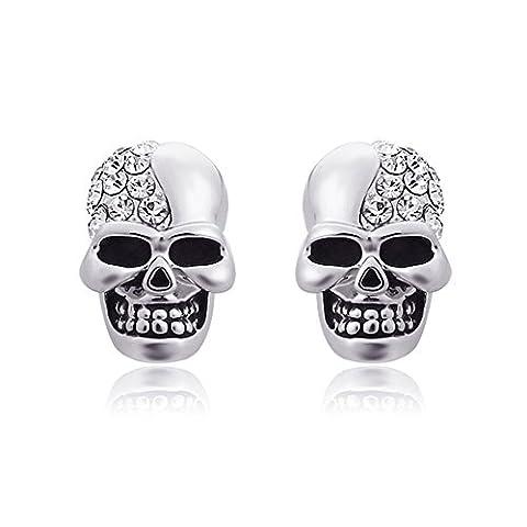 Une paire d'oreilles crâne tête de mort Boucles d'oreilles classique, Style Punk Rock–Boucles d'Oreilles Pendantes d'oreille avec strass, argent