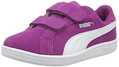 Puma Unisex-Kinder Smash Fun SD V PS Low-Top, Violett (Hollyhock-Puma White 03), 30 EU