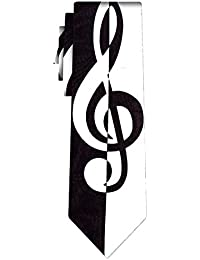 cravate treble clef black and white