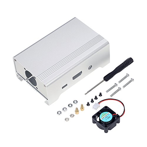KKmoon protective case housing box Aluminum alloy Raspberry Pi 3, Pi 2 y B + with cooling fan