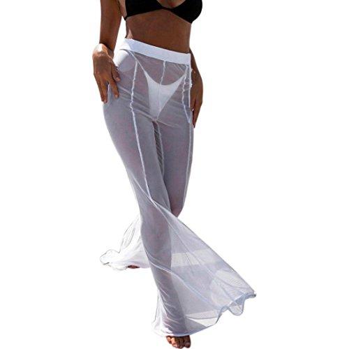 LHWY Badehose High Waist Frauen Strand Mesh Sheer Bikini Vertuschen Bademode Transparent Sommer Lange Hose Pants Schwarz Weiß (M, Weiß) -