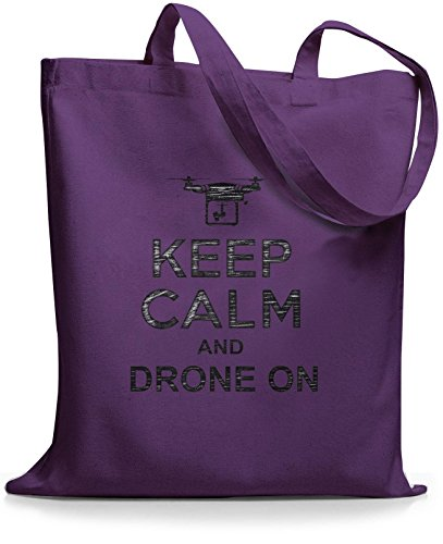 StyloBags Jutebeutel / Tasche Keep Calm and drone on Lila