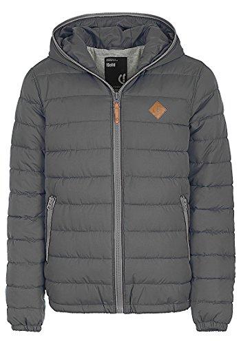 SOLID Dennis Herren Winterjacke Jacke mit Kapuze und durchgehendem Reißverschluss aus hochwertiger Materialqualität, Größe:M, Farbe:Dark Grey - Dennis Sommer