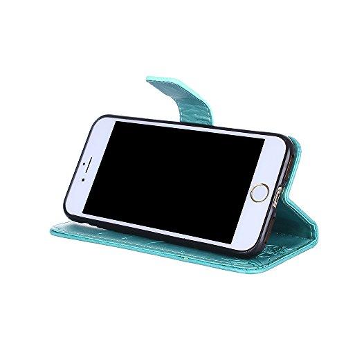 Custodia per iPhone 7 Cover Pelle,SKYXD Colorata Fiore Formica Disegni 3D Morbida Flip Libro PU Pelle Portafoglio Custodia Case per iPhone 7 Guscio Protettivo Coperture Antiurto 360 Protezione Complet Verde