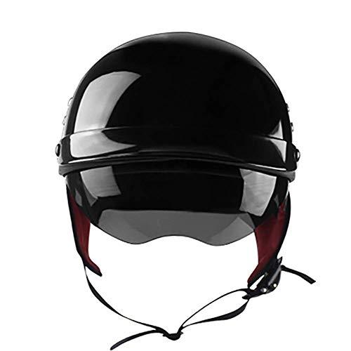 LALEO Offenes Motorradhelm, Jet-Helm mit Visier, Roller-Helm, Scooter-Helm, Damen und Herren ECE Genehmigt, Schwarz, Mattschwarz, Weiß (57-62cm),Black,XL